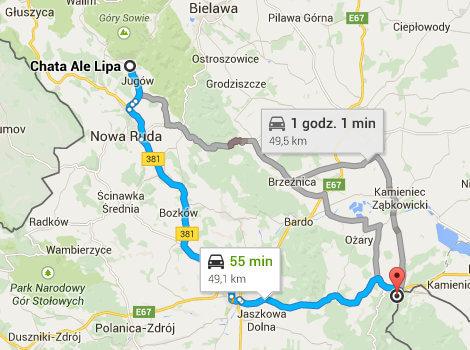 Mapa Dojazdu Do Kopalni W Zlotym Stoku Chata Ale Lipa Noclegi