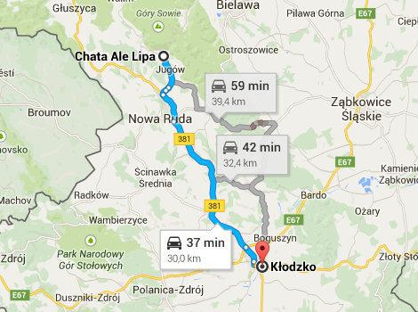 Mapa Dojazdu Do Klodzka Chata Ale Lipa Noclegi Gory Sowie